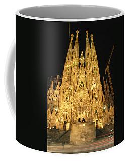 Night View Of Antoni Gaudis La Sagrada Coffee Mug