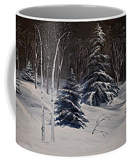 Coffee Mug featuring the photograph Night Time Snowy Woods by Joy Nichols