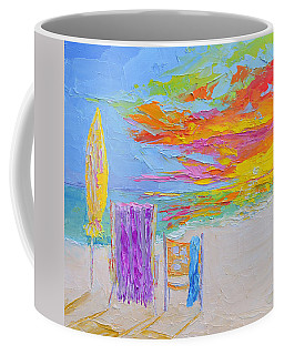 No Need For An Umbrella - Sunset At The Beach - Modern Impressionist Knife Palette Oil Painting Coffee Mug