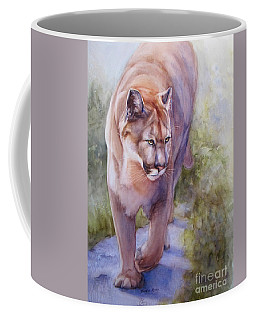 Coffee Mug featuring the painting Noble Cougar by Bonnie Rinier