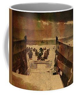Normandy Beach On Dday World War Two Watercolor Tinted Historical Photograph On Worn Canvas Coffee Mug
