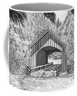 North Yachats Covered Bridge Coffee Mug by Lawrence Tripoli