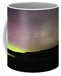 Northern Lights And Milky Way In Yellowstone Np Coffee Mug