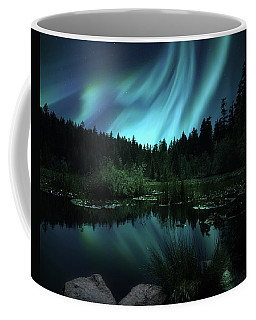 Northern Lights Over Lily Pond Coffee Mug