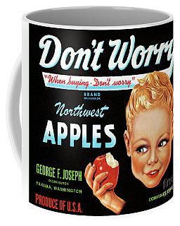 Coffee Mug featuring the photograph Northwest Apples Vintage Label Restored by Carsten Reisinger