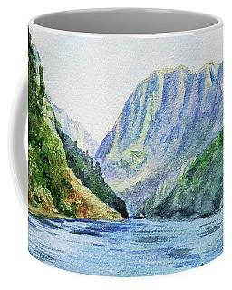 Norway Fjord Watercolor Landscape Coffee Mug