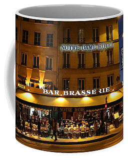 Coffee Mug featuring the photograph Notre Dame Cafe by Andrew Fare