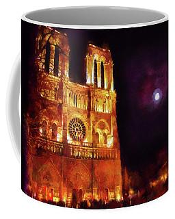 Notre Dame In The Autumn Moonlight Coffee Mug by Menega Sabidussi