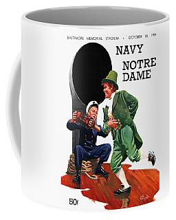 Notre Dame V Navy 1954 Vintage Program Coffee Mug