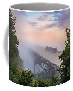 Coffee Mug featuring the photograph Nrb184 New River Bridge In The Fog by Mary Almond