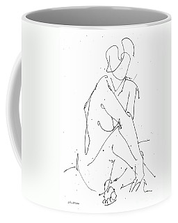 Coffee Mug featuring the drawing Nude-female-drawing-19 by Gordon Punt