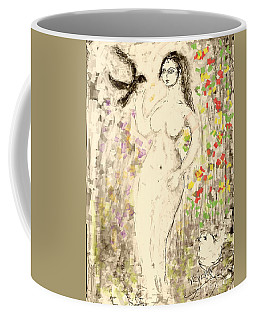 Nude Female With Bird Coffee Mug