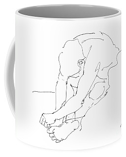 Coffee Mug featuring the drawing Nude Male Drawings 8 by Gordon Punt