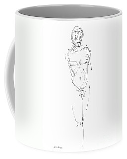 Coffee Mug featuring the drawing Nude Male Drawings 9 by Gordon Punt