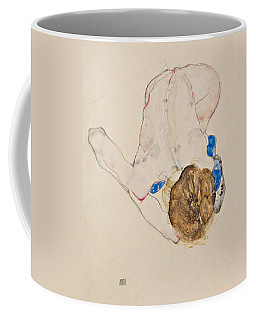 Nude With Blue Stockings, Bending Forward Coffee Mug