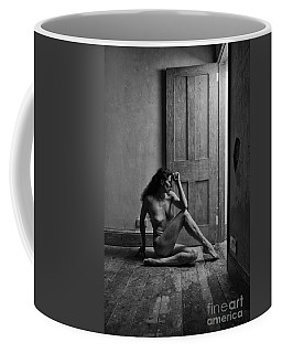 Nude Woman Sitting By Doorway In Abandoned Room Coffee Mug