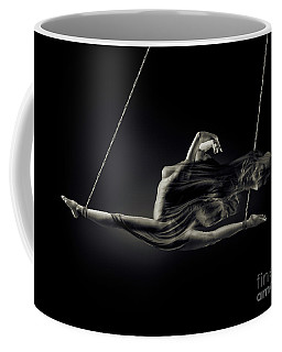 Nude Woman Swinging In Splits In The Air With Bondage Rope And F Coffee Mug