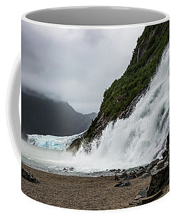 Coffee Mug featuring the photograph Nugget Falls And The Mendenhall by Ed Clark