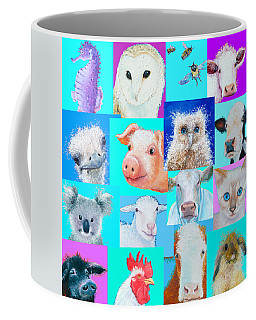 Nursery Wall Art - Collage Of Animals Coffee Mug