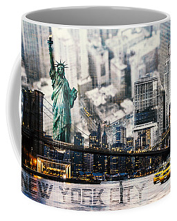 Coffee Mug featuring the photograph Nyc - Collage by Hannes Cmarits