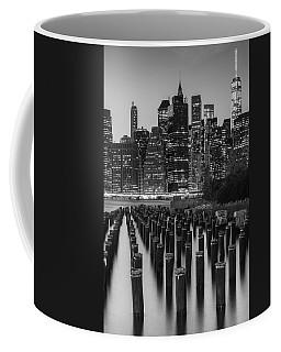 Coffee Mug featuring the photograph Nyc Skyline Bw by Laura Fasulo