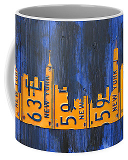 Nyc New York City Skyline With Lady Liberty And Freedom Tower Recycled License Plate Art Coffee Mug