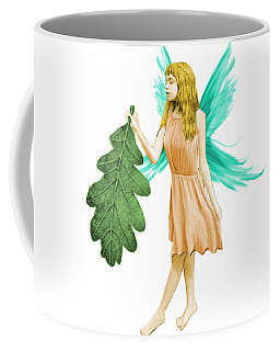 Oak Tree Fairy With Oak Leaf Coffee Mug