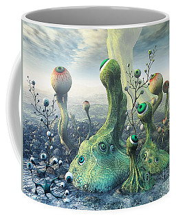 Coffee Mug featuring the digital art Observation by Jutta Maria Pusl