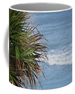 Ocean And Palm Leaves Coffee Mug by Kathy Long