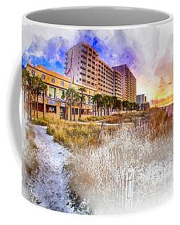 Ocean Drive Sunrise Watercolor Coffee Mug