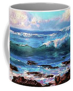 Coastal Ocean Sunset At Turtle Bay, Oahu Hawaii Beach Seascape Coffee Mug