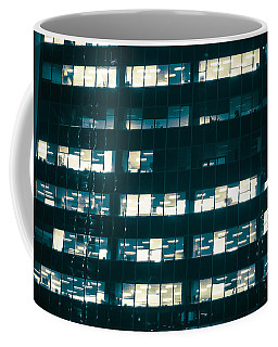 Coffee Mug featuring the photograph Office Condos Lit At Night by Amyn Nasser