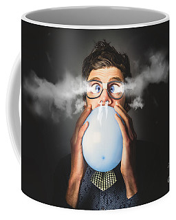 Coffee Mug featuring the photograph Office Party Nerd Blowing Up Birthday Balloon by Jorgo Photography - Wall Art Gallery