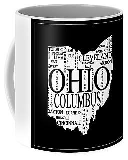 Coffee Mug featuring the mixed media Ohio City Typography Map by Dan Sproul