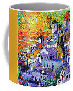 Oia Santorini Magic Light Mini Cityscape 09 - Modern Impressionist Palette Knife Oil Painting Coffee Mug