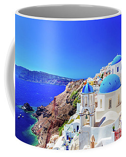 Oia Town On Santorini Island, Greece. Caldera On Aegean Sea. Coffee Mug