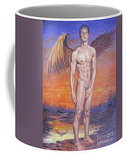 Oil Painting Angel Of Male Nude In Sunset#17-1-16 Coffee Mug by Hongtao Huang