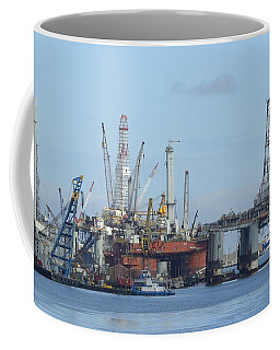Oil Rigs At Galveston Harbor Coffee Mug