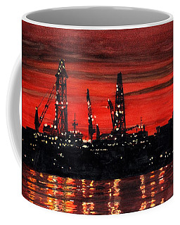 Coffee Mug featuring the painting Oil Rigs Night Construction Portland Harbor by Dominic White