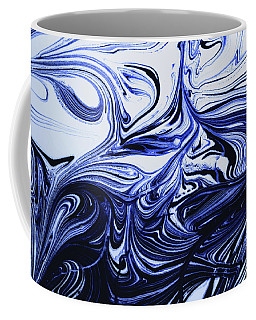 Oil Swirl Blue Droplets Abstract I Coffee Mug