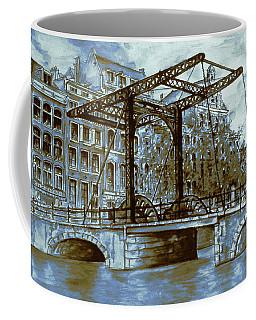 Old Amsterdam Bridge - Dutch Blue Water Color Coffee Mug