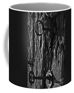 Old And Abandoned Wooden Door With Skeleton Keys Coffee Mug