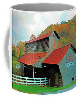 Old Barn In Autumn Wears Valley Coffee Mug by Rebecca Korpita