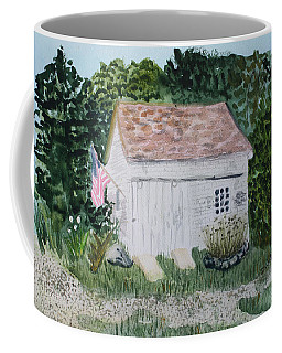 Coffee Mug featuring the painting Old Barn In Eastham Ma by Donna Walsh