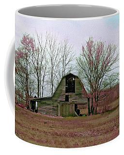 Coffee Mug featuring the digital art Old Barn With Grunge by Bonnie Willis
