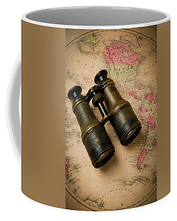 Old Binoculars On Antique Map Coffee Mug