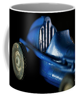 Coffee Mug featuring the photograph Old Blue Toy Race Car by Wilma Birdwell