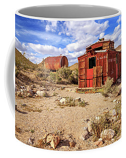 Coffee Mug featuring the photograph Old Caboose At Rhyolite by James Eddy