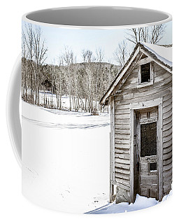 Old Chicken Coop In Winter Coffee Mug by Edward Fielding