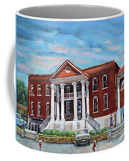 Coffee Mug featuring the painting Old Courthouse In Ellijay Ga - Gilmer County Courthouse by Jan Dappen